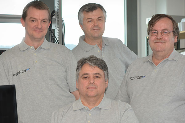 The eXtra4 Software-Team (from left): Kay Sonntag, Alex Schickel, Hartmut Kasper, (front) Thomas Peters