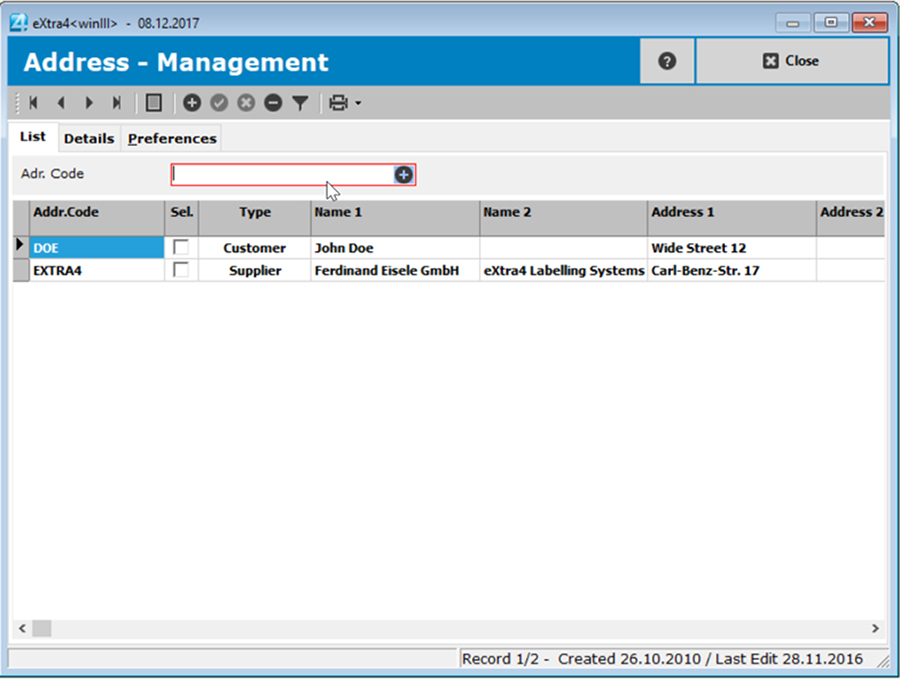 Window label printing software extra4 list view addresses in the simple address management