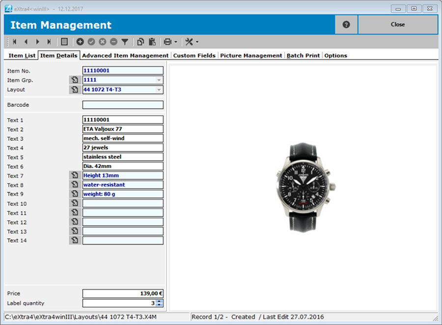 Window label printing software extra4 detail view item in simple item management