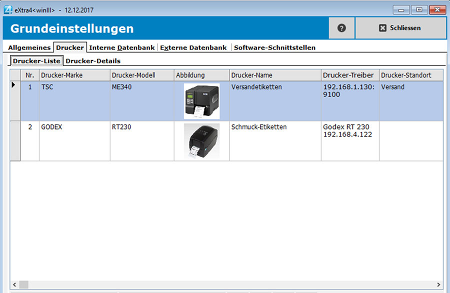 Fenster etikettendruck-software extra4 Drucker-Management