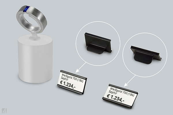 Label holders of eXtra4 can be set up in two positions with the integrated stand