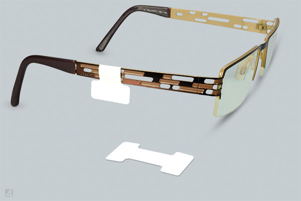 Dumbbell labels for eyeglass frames