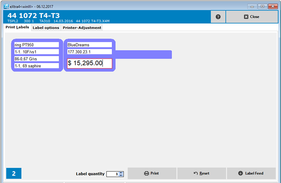 Window label printing software extra4 Label data in data entry mask